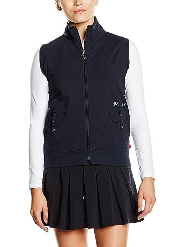 XFORE Sudadera de golf sin mangas, cristales, bordado para mujer, Redondo, de color azul oscuro