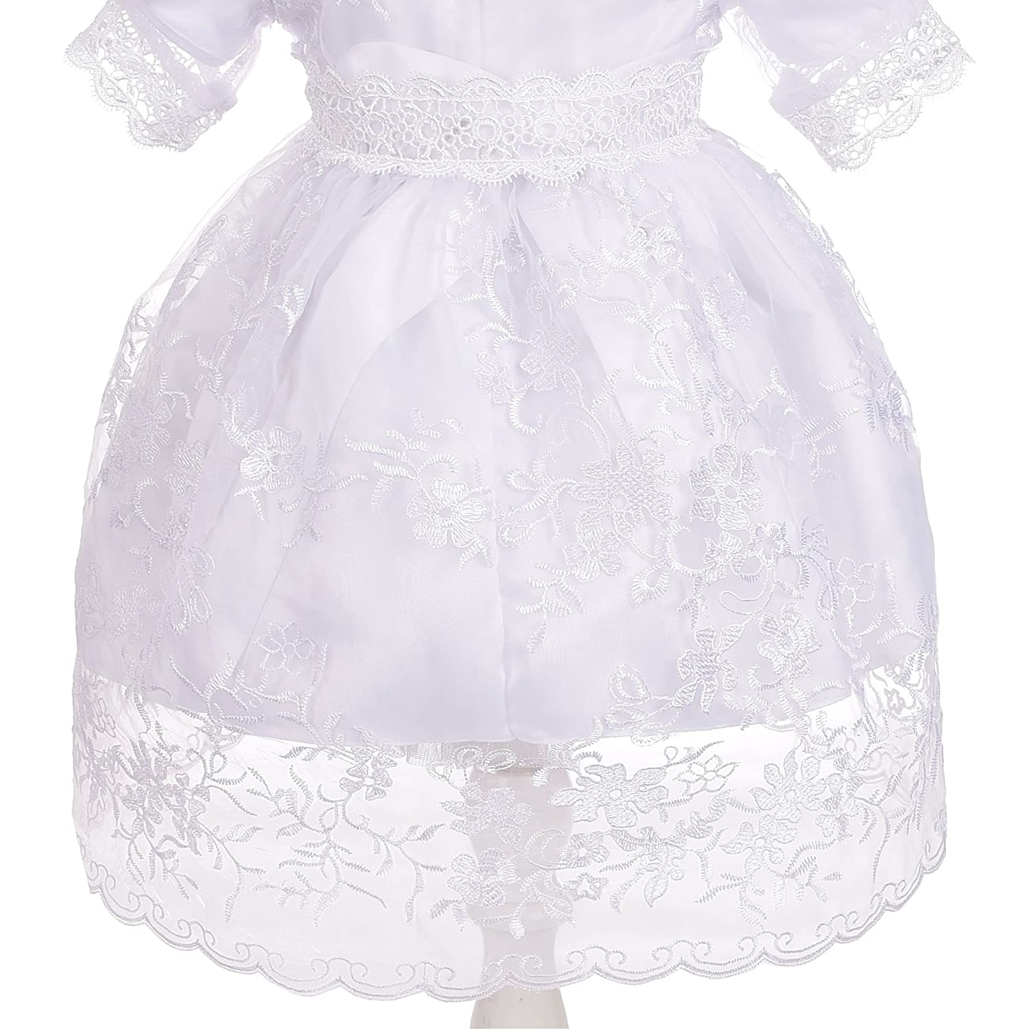 Dressy Daisy Baby Girls Baptism Dress Christening Gown with Cape Bonnet Embroidered Christening Outfit for Girls