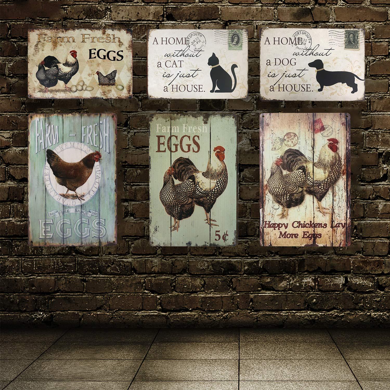 UNIQUELOVER - Cartel de Metal Vintage con diseño de gallinas ...