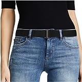 No Show Women Stretch Belt Invisible Elastic Web Strap Belt with Flat Buckle for Jeans Pants Dresses, 1-Black-Guncolor…