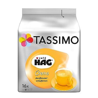 Tassimo Cápsulas de Café HAG Crema Descafeinado, Café descafeinado Molido de Tueste Natural, Certificado