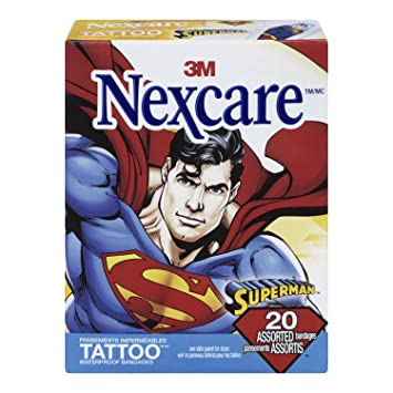 Amazon Com Nexcare Tattoo Waterproof Bandages Superman Collection