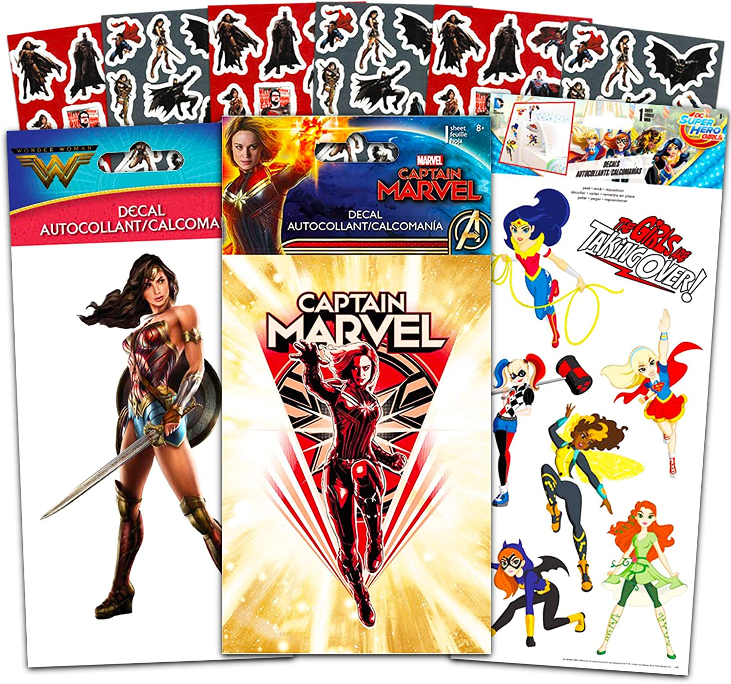Superhero Sticker Set Superhero Bedroom Decor for Boys Girls -- 3 Pc Sticker Pack Captain Marvel, Harley Quinn and Wonder Woman Decal Superhero Stickers for Car, Laptop, Walls, Room Decor