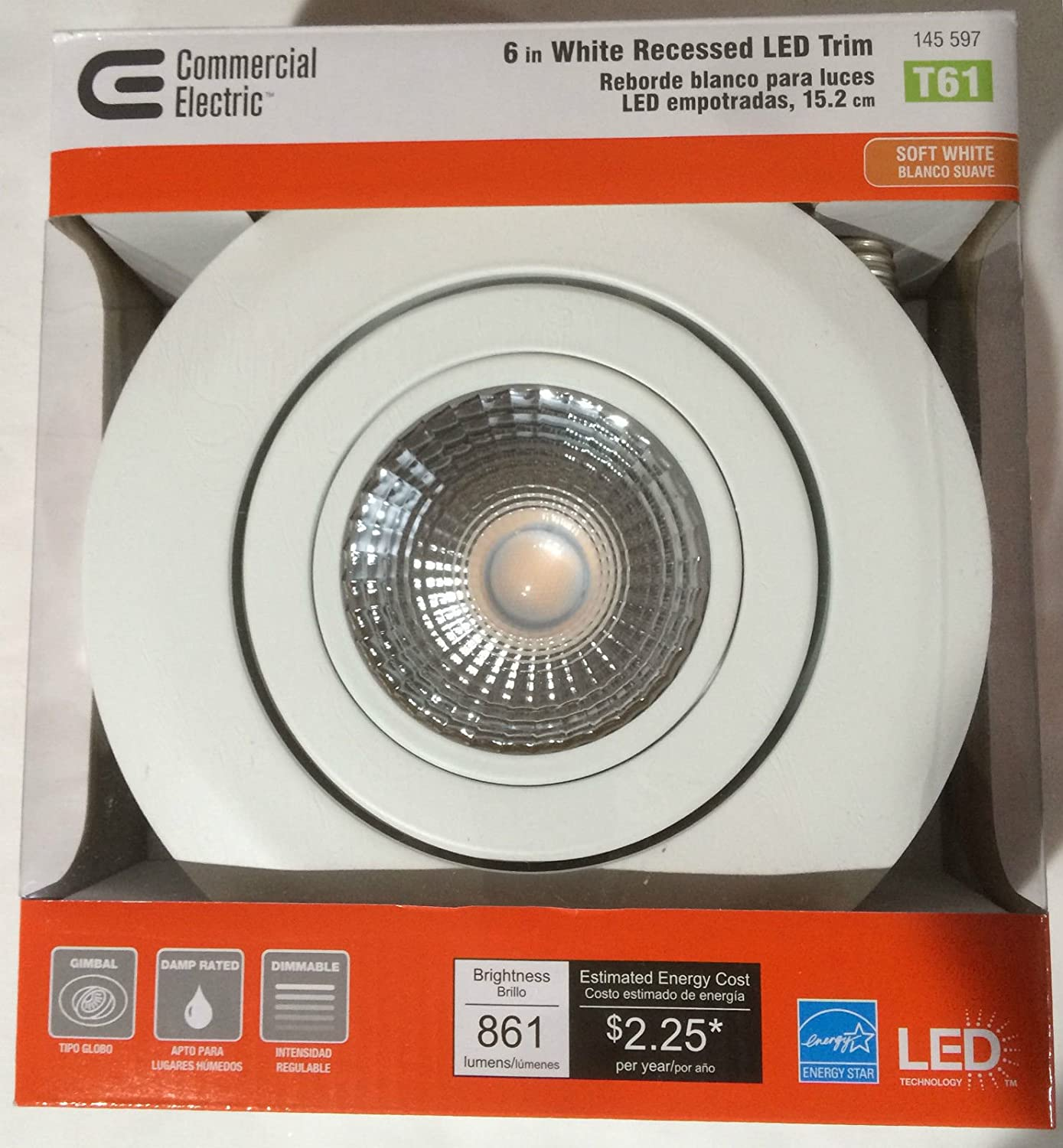 T61 / Commercial Electric 6 in. Recessed White Gimbal LED Trim - Recessed Light Fixture Trims - Amazon.com & T61 / Commercial Electric 6 in. Recessed White Gimbal LED Trim ... azcodes.com