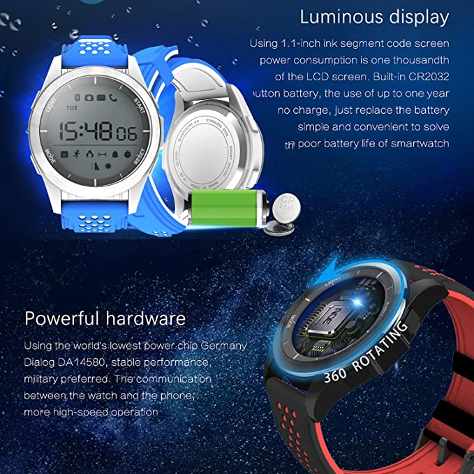 MarMoon IP68 Waterproof Smartwatch Fitness Tracker Watch with Pedometer Calories Sedentary Remind Sleep Monitor Outdoor Sport Watch for Men Women ...