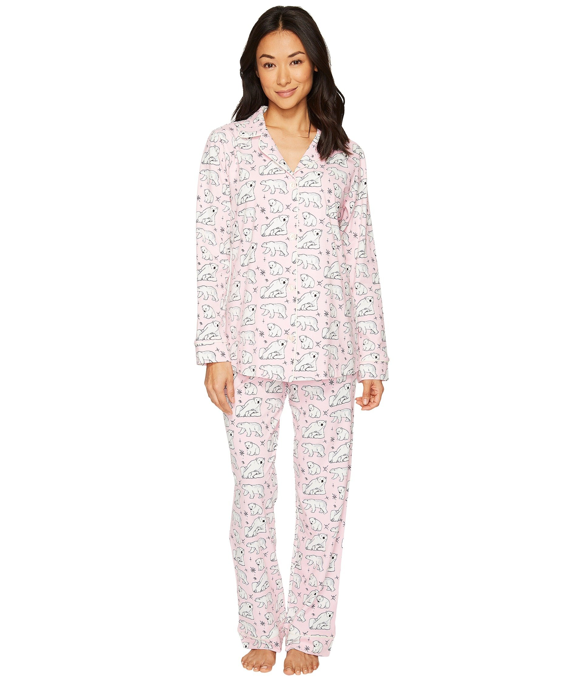 BedHead Women's Long Sleeve Classic Stretch Knit Pajama Set Pink Polar Bears X-Large