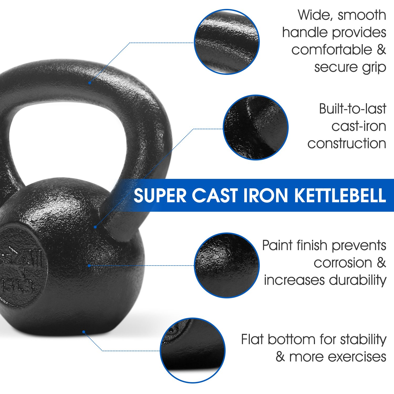 Yes4All Solid Cast Iron Kettlebell Weights Set – Great for Full Body Workout and Strength Training – Kettlebell 15 lbs (Black) by Yes4All (Image #4)