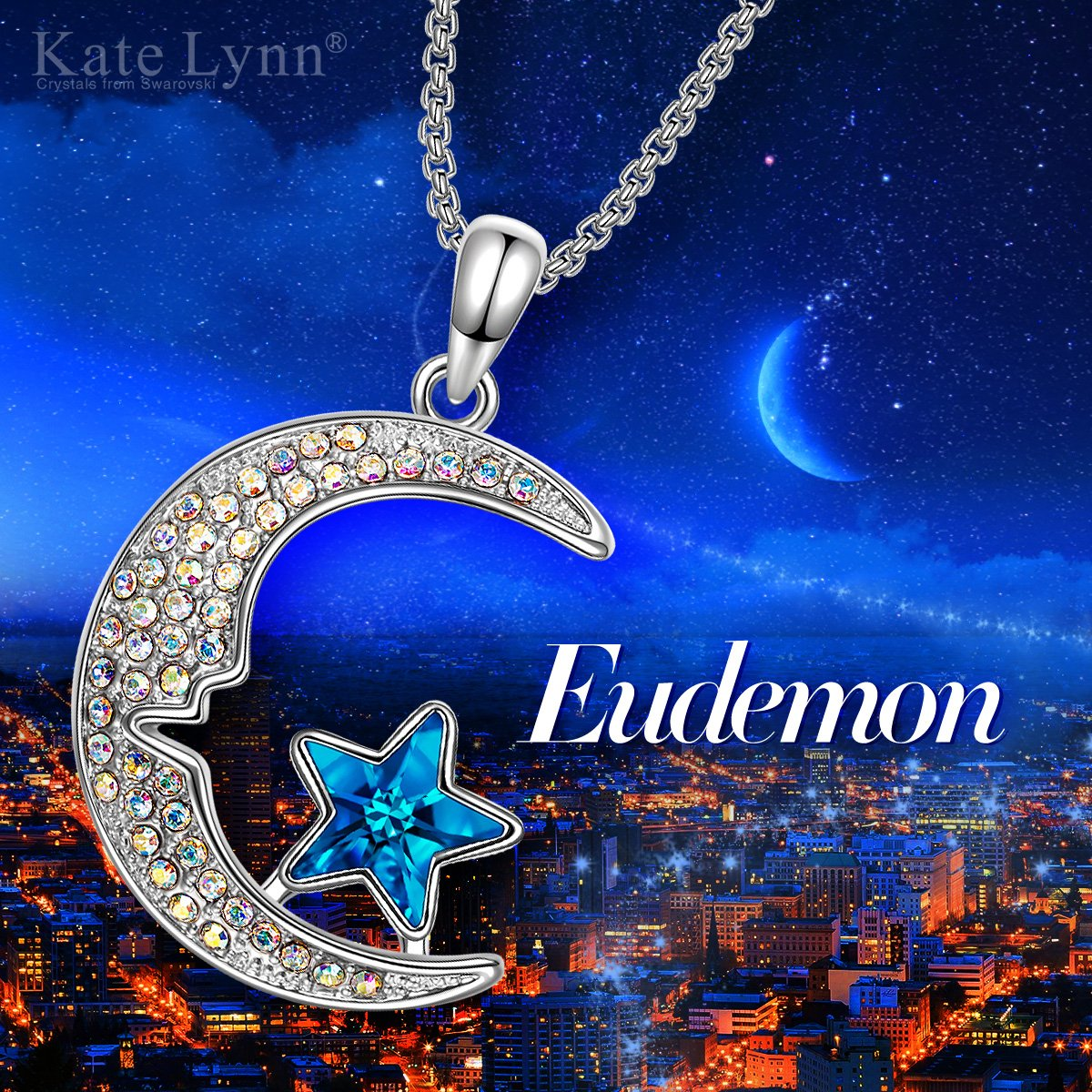 M/étal Cuivre Bleu Mer Collier Cristal de Swarovski Kate Lynn Eudemon