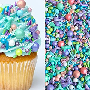 Sprinkles   Mermaid Party Sprinkle Mix   Mermaid Sprinkles   Edible Sprinkles   Purple Sprinkles   Confetti Sprinkles   Cake Sprinkles (8 ounce bag)