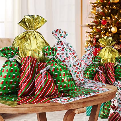 Amazon.com: NICEXMAS Christmas Gift Bags in 4 Sizes and 4 Designs ...