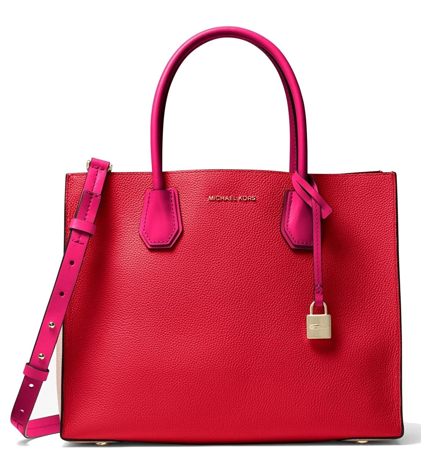 0be894134c93 Amazon.com: MICHAEL Michael Kors Mercer Large Color-Block Leather Tote Bag,  Bright Red Soft Pink Ultra Pink: Shoes