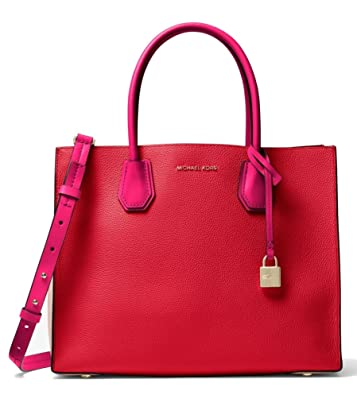 8d55bd1da8b755 Amazon.com: MICHAEL Michael Kors Mercer Large Color-Block Leather Tote Bag,  Bright Red Soft Pink Ultra Pink: Shoes