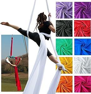 Firetoys Professional Aerial Silks Fabric/Tissues, Medium Stretch Silk WLL 282lbs (128kg) (White, 26' (8m))