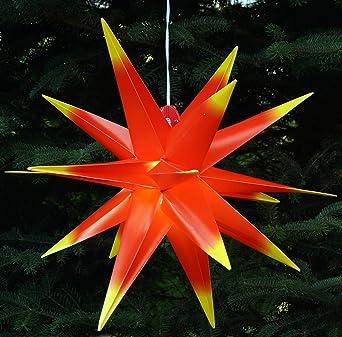 StaRt-NDL-DUH-E14-C3,5W Mit LED Au/ßenstern Stern rot mit gelben Spitzen Weihnachtsstern 55-60 cm Stern au/ßen 104 Dioden mit Leuchtmittel LED