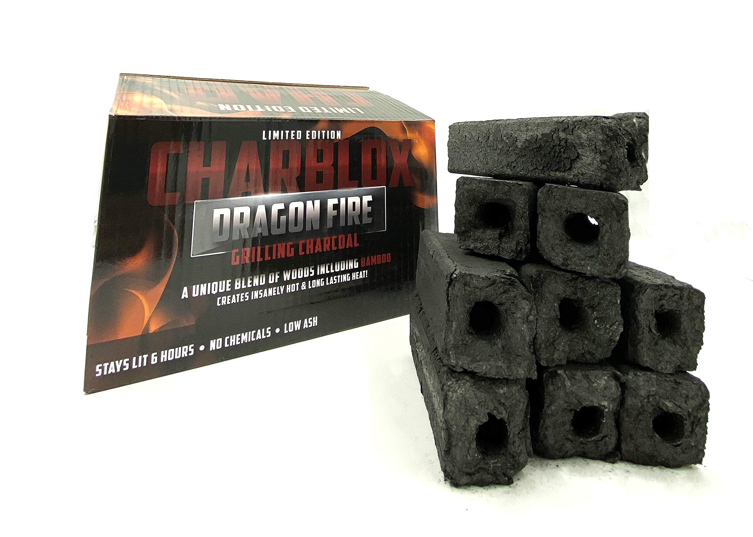 CHARBLOX Dragon Fire Grilling Charcoal - Made with Super Strong Bamboo - Ultra Hot, Stays Lit 6 Hours, Limited Edition by CHARBLOX