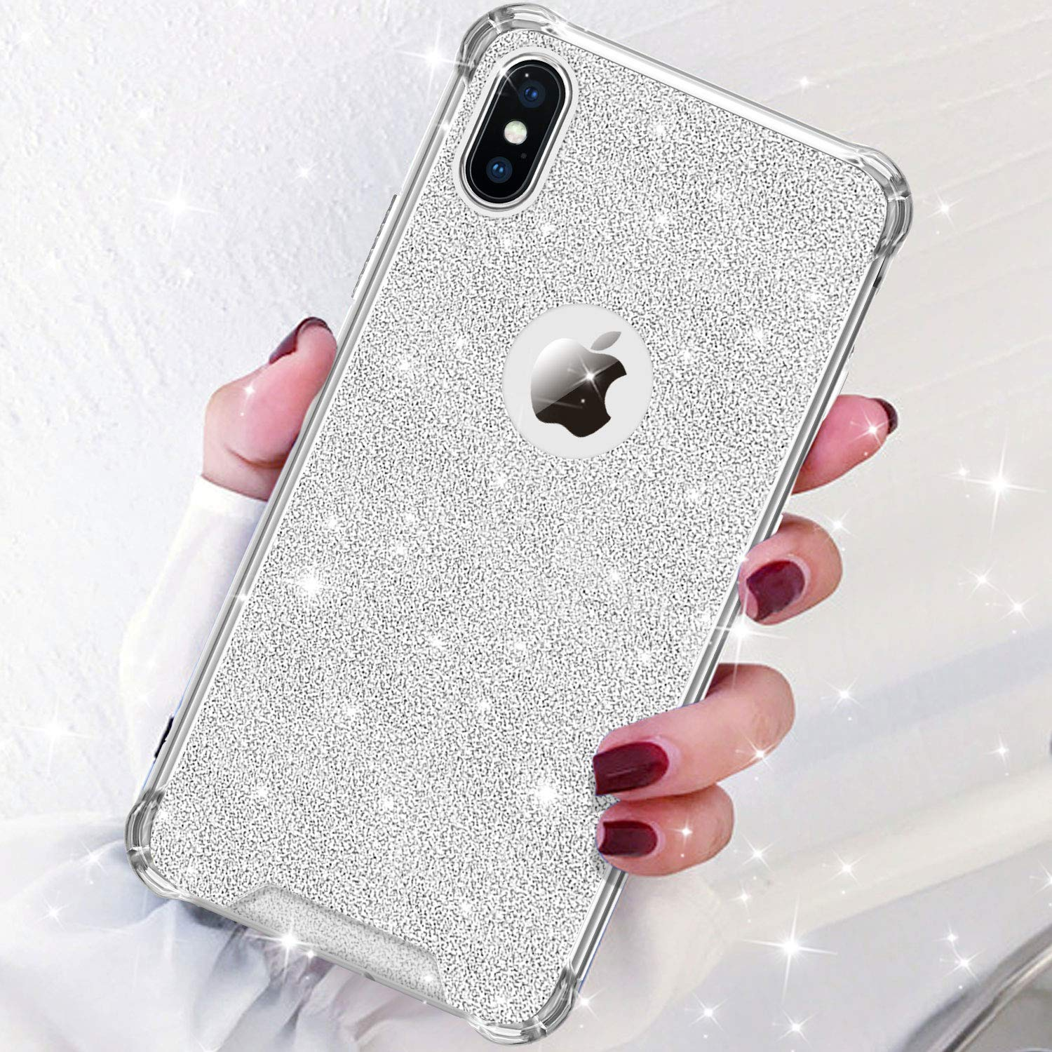 new style 71d4c 7a030 DAUPIN Compatible iPhone Xs iPhone X Case for Women Girl Phone Cover Bling  Glitter Protective Defender Shockproof Hard Back Cases for Apple iPhone ...