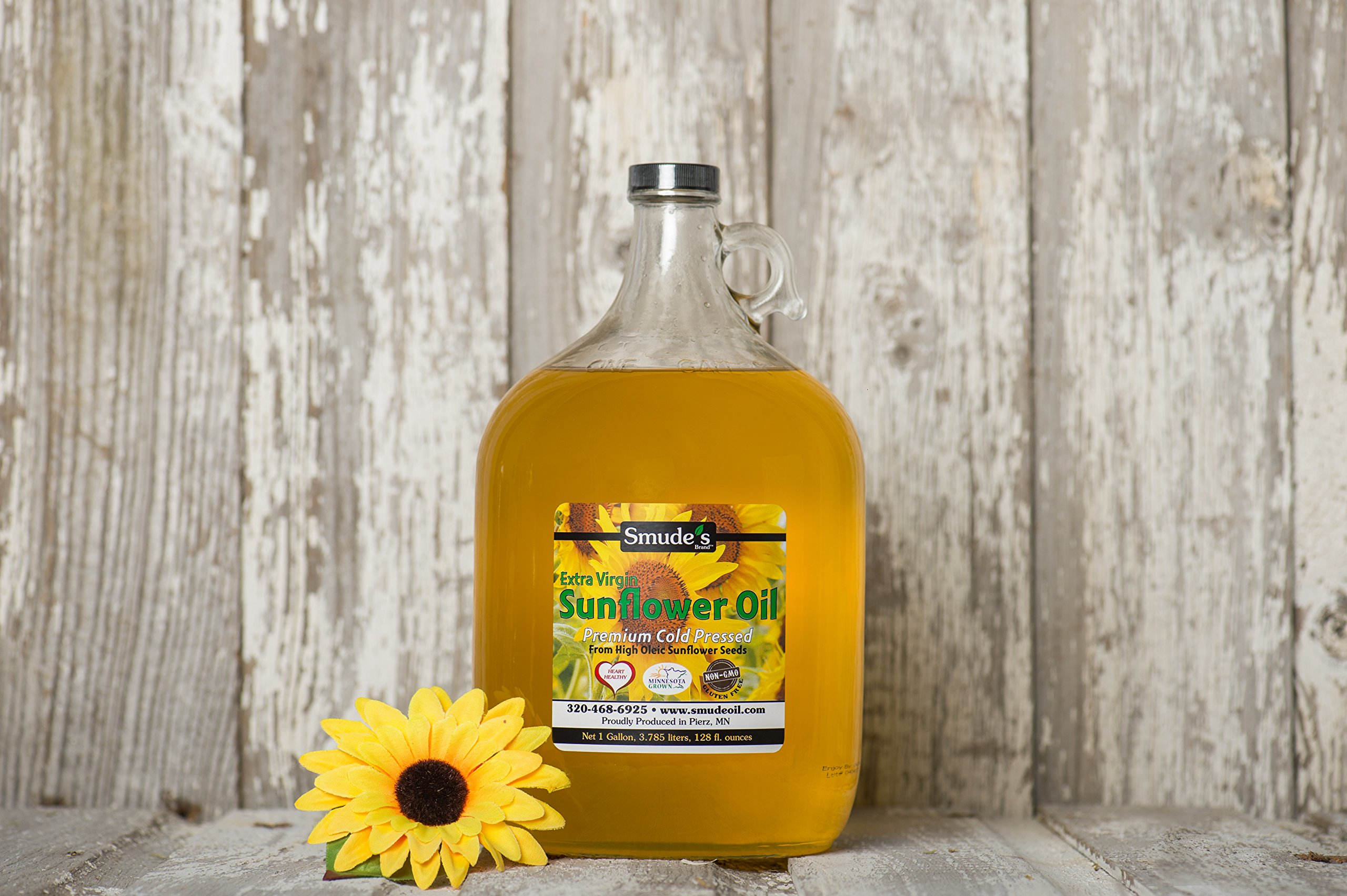 Smude Sunflower Oil 1 Gallon Glass [Cold Pressed, All Natural, NonGMO Cooking Oil] by Smude's Brand