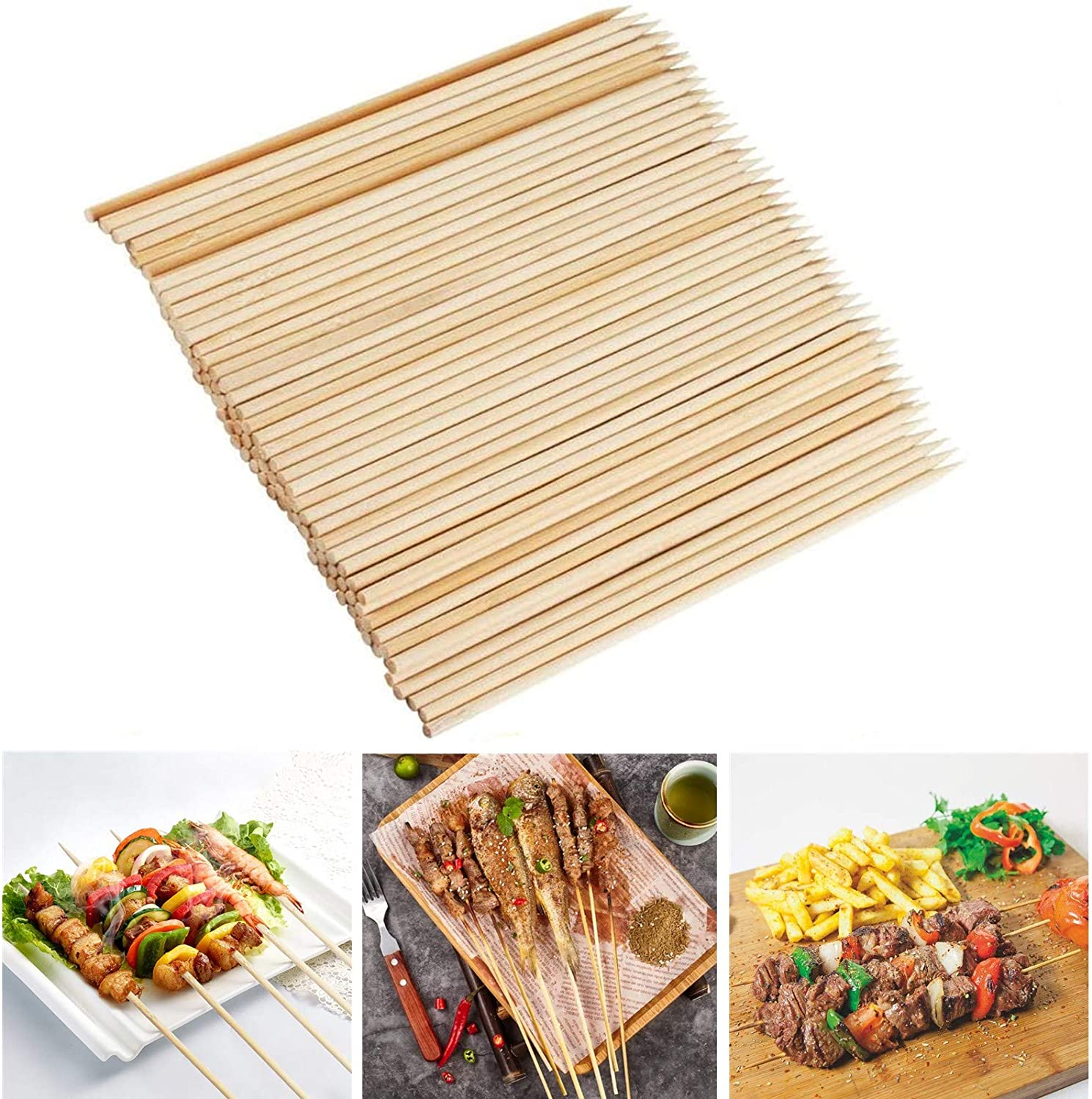 Amazon Com Fu Store Bamboo Skewers 8 Inch Bamboo Sticks Shish Kabob Skewers Grill Appetizer Fruit Corn Chocolate Fountain Cocktail Art Set Of 100 Pack With Free 10 Pairs Of Gloves Garden Outdoor