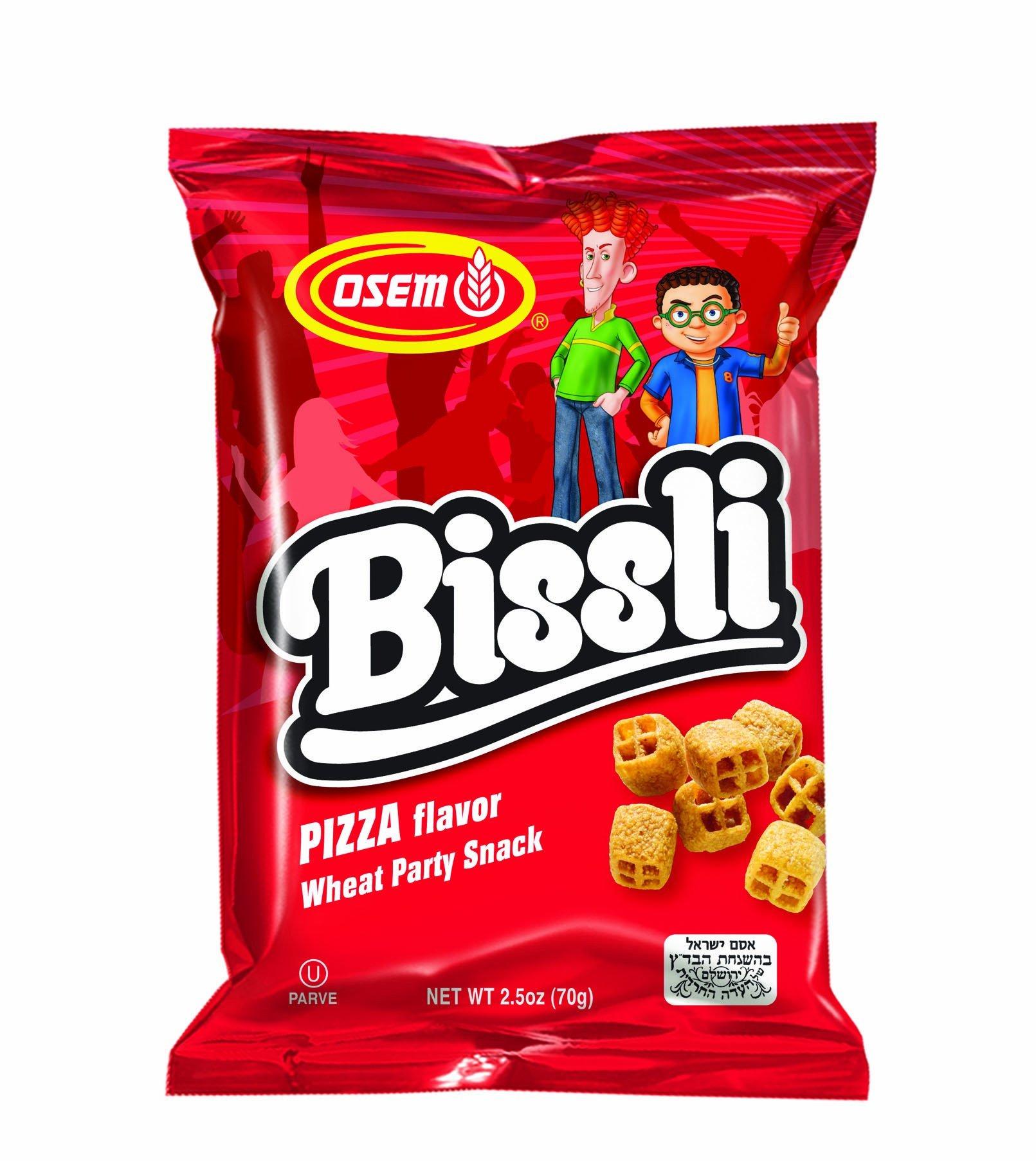 Bissli Pizza Flavored Crunchy Wheat Snack - No Food Coloring or Preservatives, 2.5oz Bag (Pack of 6)