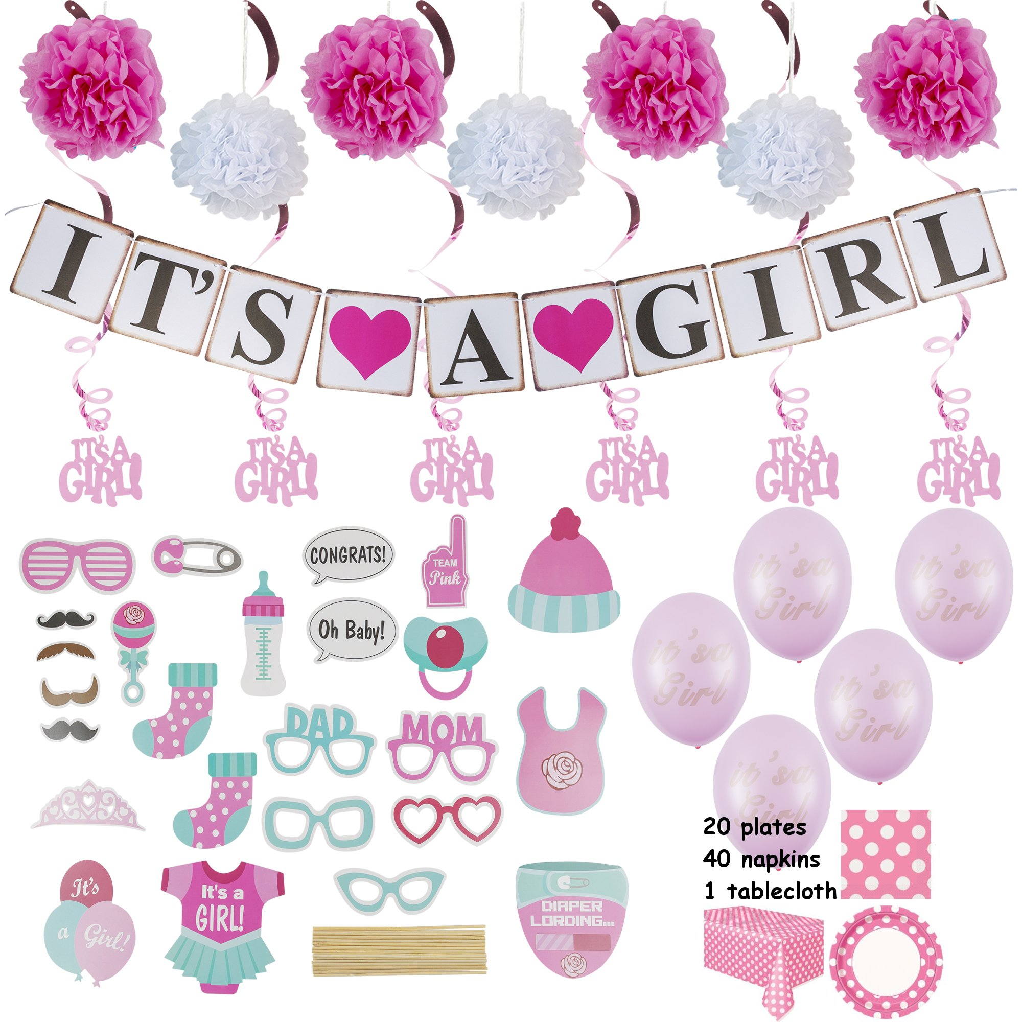 Baby Shower Decorations for a Girl :: Over 100 Pieces in Kit :: Elegant Pink Décor with Hanging Banner, Balloons, Props, Flower Pom Poms, Swirlers, Napkins, Plates & Table Cover
