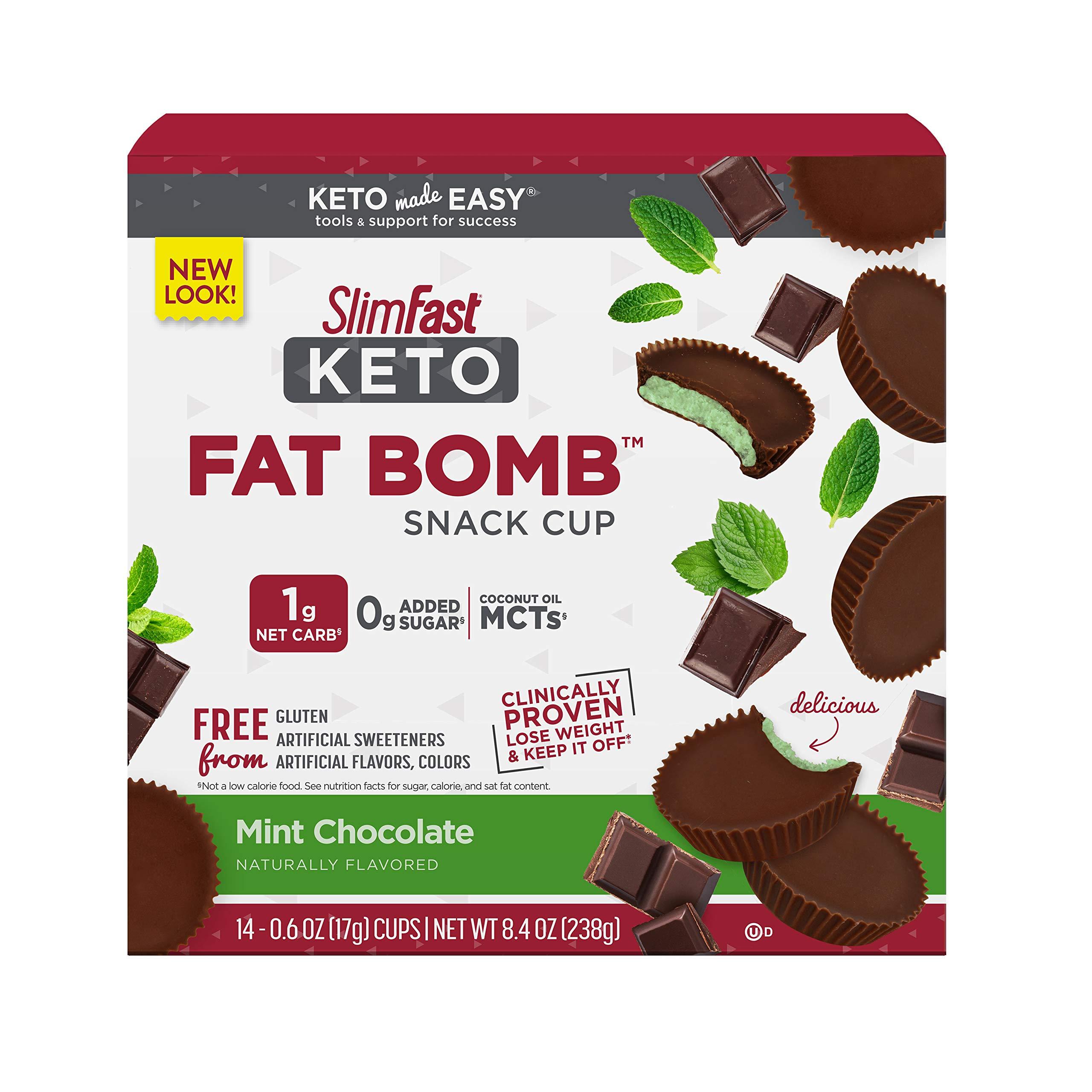SlimFast Keto Fat Bomb Snacks - Mint Chocolate - 14 Count Box - Pantry Friendly
