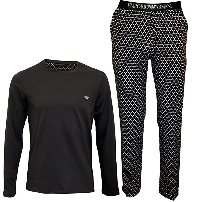 Emporio Armani Pijama de Caballero, Largo, Liso con Estampado, S-XL -
