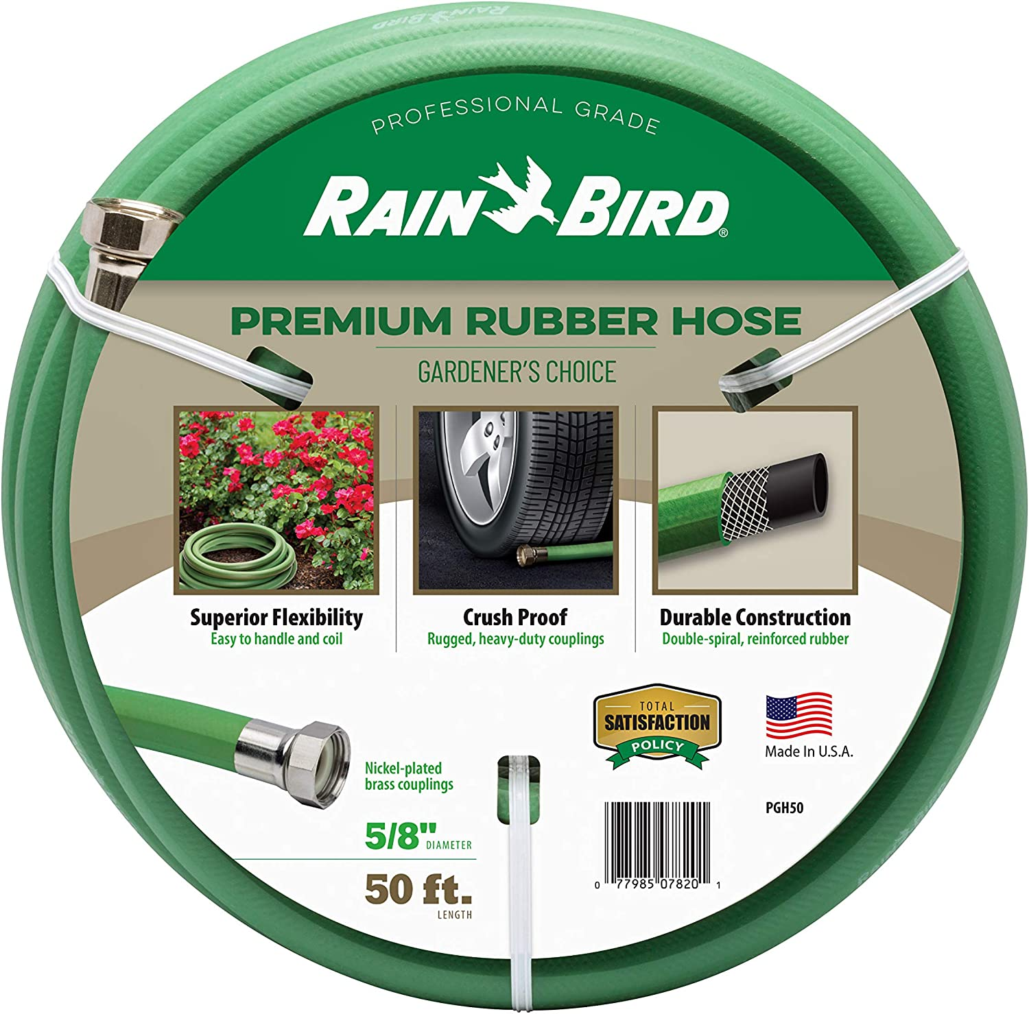 "Rain Bird PGH50 Premium Heavy-Duty Garden Hose, 100% EDPM Rubber, Hexagonal, Kink-Resistant, 5/8"" Inside Diameter x 50' Long, Green"