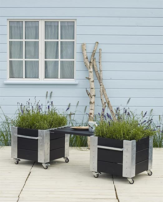 Plus jardineras con integrada, enrollable asiento Banco 2 x 46 x ...