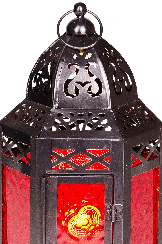 luce marocchina in vetro colorato per uso interno Lampada per uso esterno come lanterna Lanterna orientale in metallo in vetro Liyana alto 30cm arancione luce da giardino