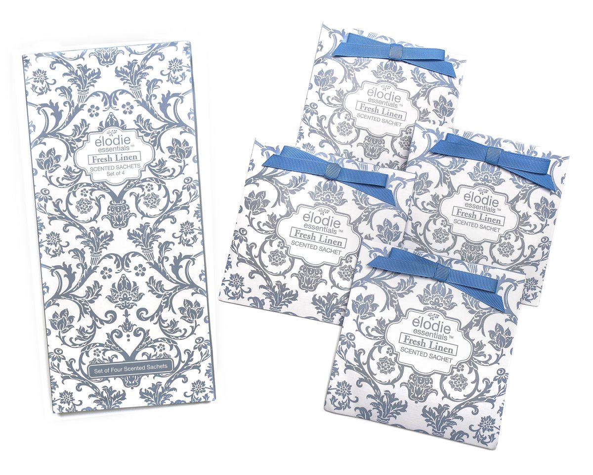 Fresh Linen Scented Sachets - Set of 4 Large Gift Boxed Sachets for Drawers and Closets - Royal Damask