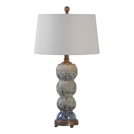 Distressed Blue Gray Stacked Spheres Table Lamp Rustic Cottage