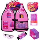 Hely Cancy Girls Tactical Vest Kit Compatible with Nerf Guns N-Strike Elite Series with Refill Darts, Reload Clips, Tactical Mask, Wrist Band and Protective Glasses for Girls