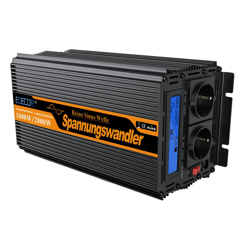 EDECOA Inversor 12v 220v Onda Pura inversor 1000w convertidor de Voltaje 12v 220v Onda Pura LCD con Mando A Distancia y Dos Puertos USB/…