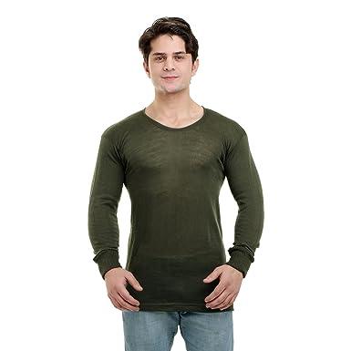 Nuan Olive Green Color Woolen Inner T Shirt For Men Amazonin