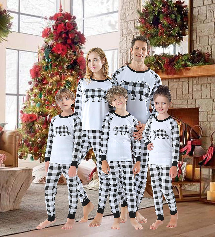 Kaicran Plaid Papa Mama Kids Baby Family Matching Christmas Tree Pajamas Pants Sets Believe