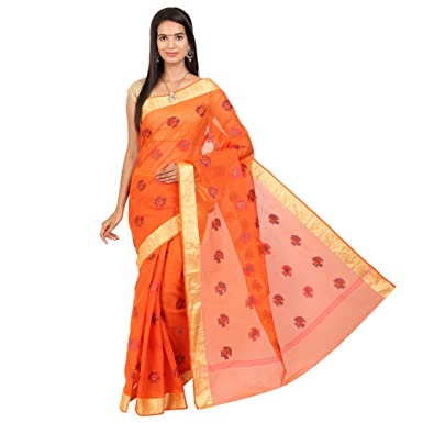 1617031be3a552 CRAFTGHAR Women's Cotton Kota Doria Embroidery Work Saree with 2.5inch Golden  Printed Border and Blouse Piece (U-07-293, Orange): Amazon.in: Clothing &  ...