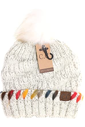 7ee5454a319 Women s C.C Fuzzy Lined Ombre Thread Accent Pom Beanie (Ivory) at ...