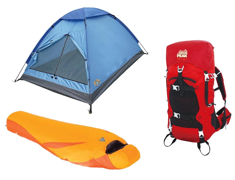 Alpinizmo High Peak USA Latitude 0F Sleeping Bag Monodome 3 Tent /& 40 Liter Pack Combo Red//Orange One Size HP 713