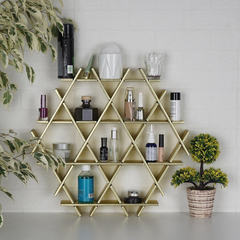 LaModaHome Cardboard Shelf 100% Corrugated Cardboard (20.5'' x 18.9'' x 2.8'') Gold Hexagon Triangle Decorative Design Bedroom Storage Shelf Multi Purpose by LaModaHome