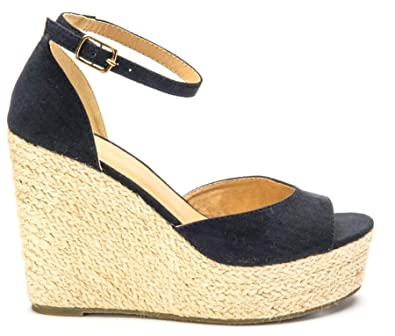 Womens High Platform Wedge Espadrille Sandals Ankle Strap Summer Shoes Size New