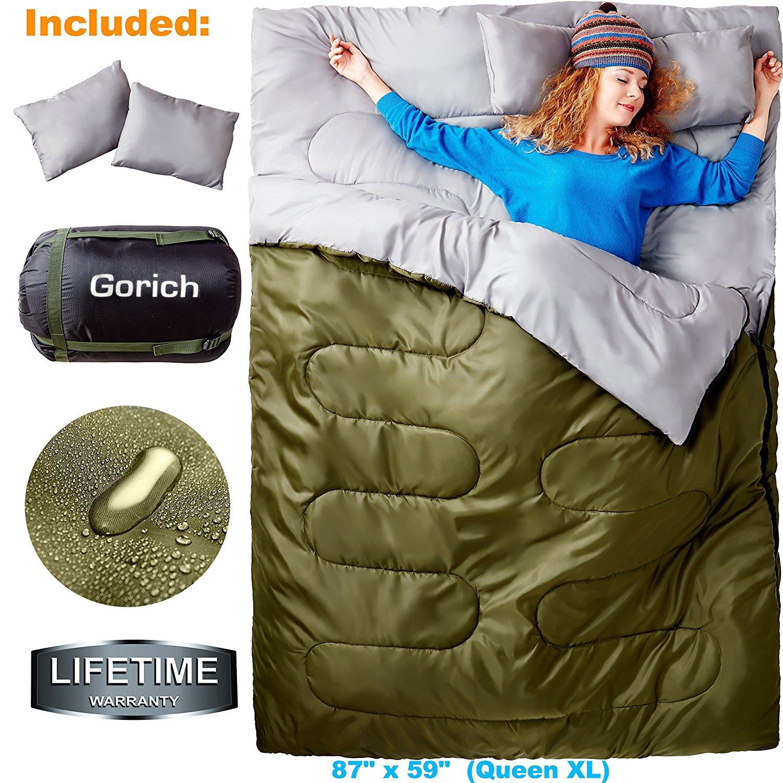 Saco de dormir doble para mochilero, camping o senderismo. Queen Size XL! Agua fría 2 personas Saco de dormir impermeable para adultos o adolescentes.