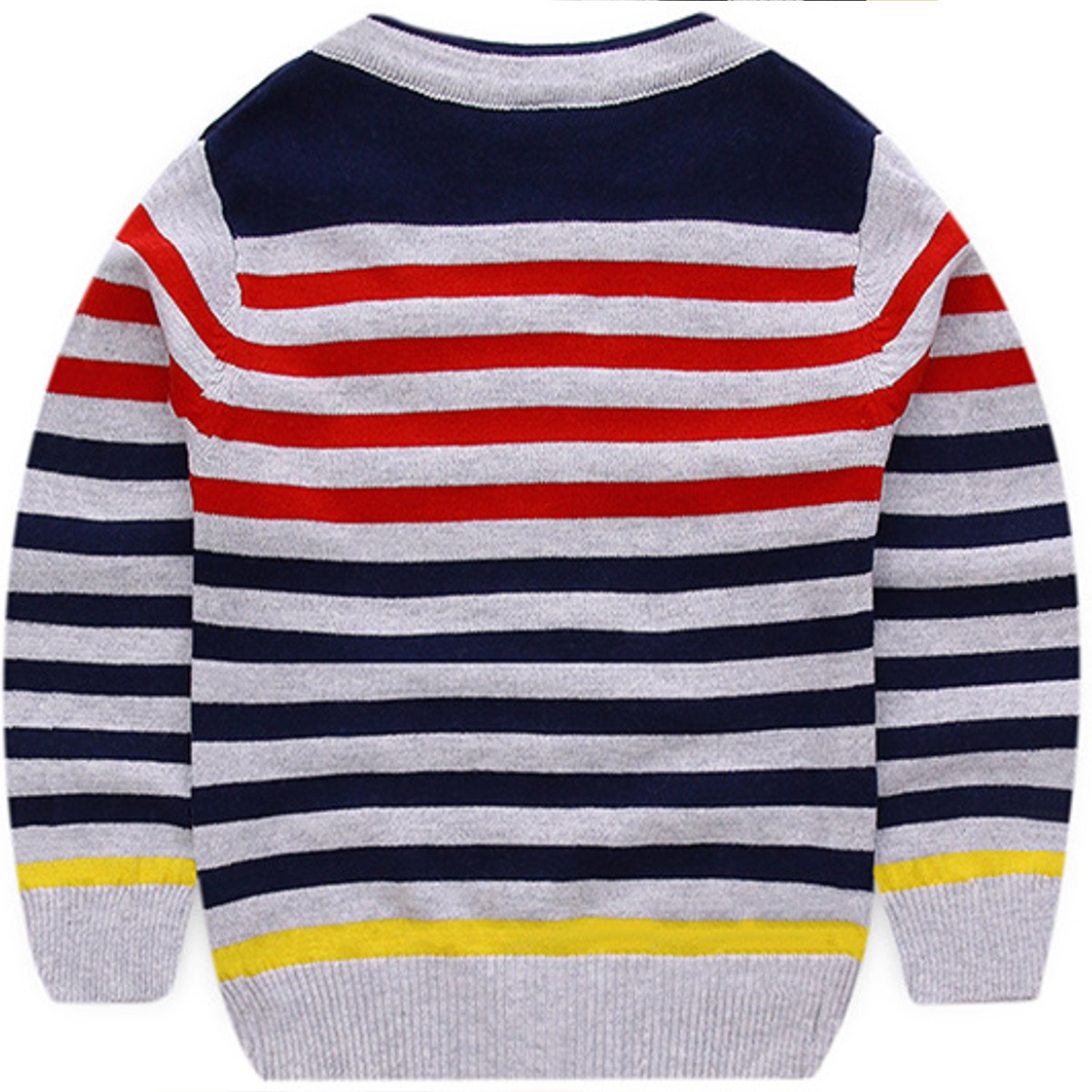 AUIE SAOSA The Little boy Striped Cotton Knitted Cardigan Sweater