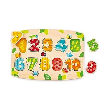 Hape Number Peg Puzzle Game, Multicolor, 5 x 2