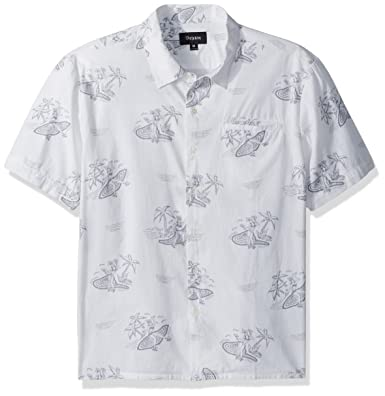 a075a420e2 Amazon.com  Brixton Men s Bueller Relaxed Fit Short Sleeve Woven Shirt   Clothing