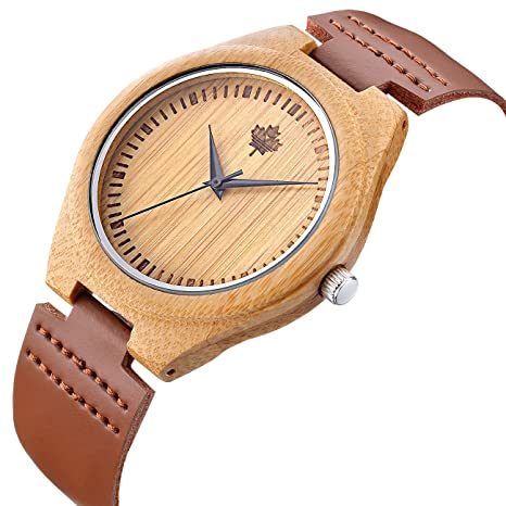 Review Unique Wooden Mens Watches with Genuine Leather Gift Quartz Wrist Watch