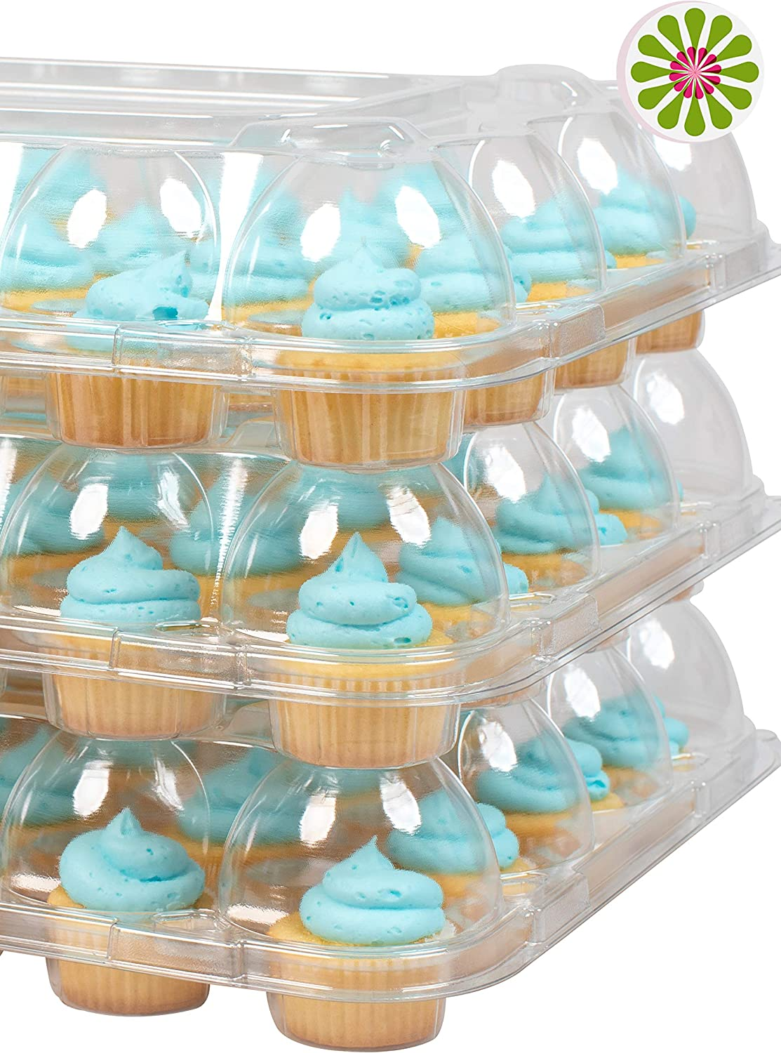 Stack'nGo MINI Cupcake Containers - (24 Pack X 12 Sets) - High Tall Dome, Clear Containers, Thick Plastic Disposable Storage Boxes, 2 Dozen Compartments Slots, Cupcakes Holder Box, Tray Carrier