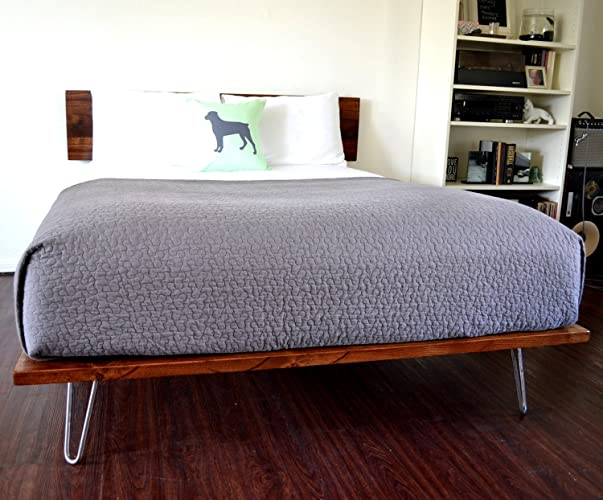 Amazon Com Platform Bed And Headboard On Hairpin Legs California