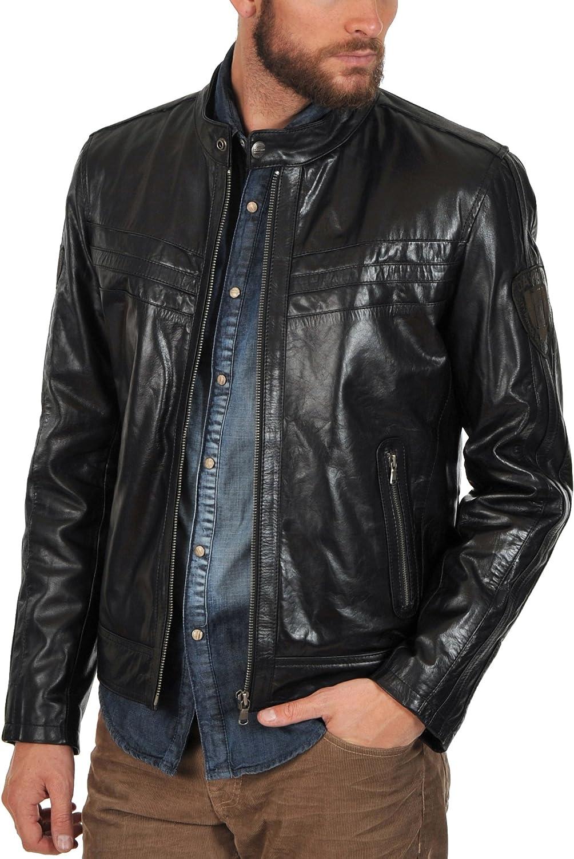 Kingdom Leather Mens Genuine Cow Leather Jacket Slim Fit Motorcycle Jacket XC101