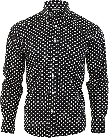 Relco - Camisa de hombre negra a topos blancos diseño vintage negro negro Medium: Amazon.es: Ropa y accesorios