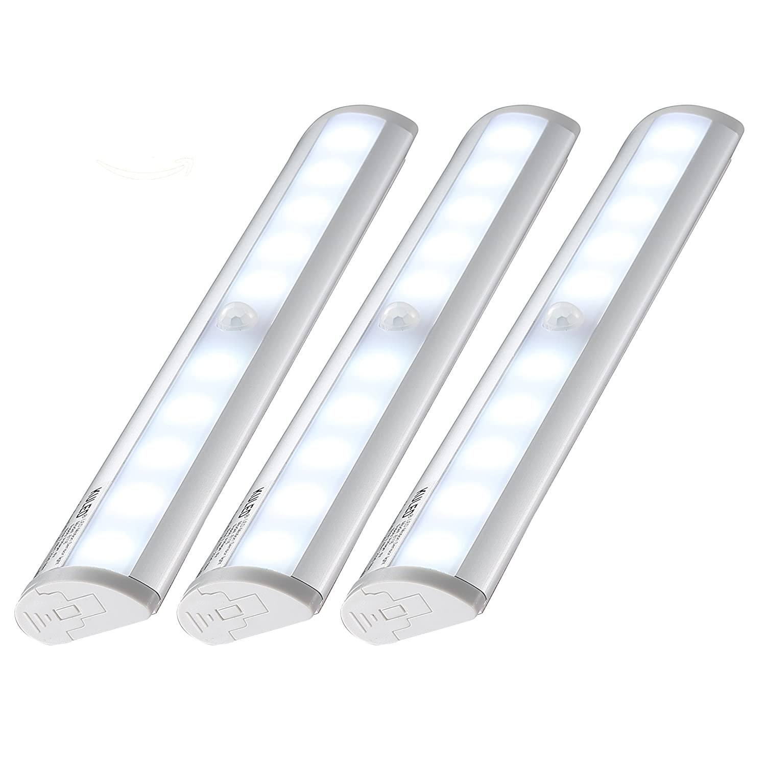 Kuled 10-led Wireless Motion Sensing Stick-on Anywhere Step LED Light Bar with Magnetic Strip, Pure White,3-Pack